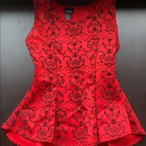 Peplum Red and Black velvet top